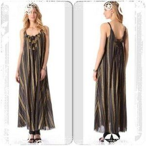 Free People Unearthened Striped Print Brown Dress